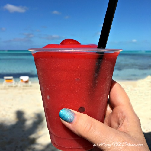 A Drink on the Beach at Castaway Cay